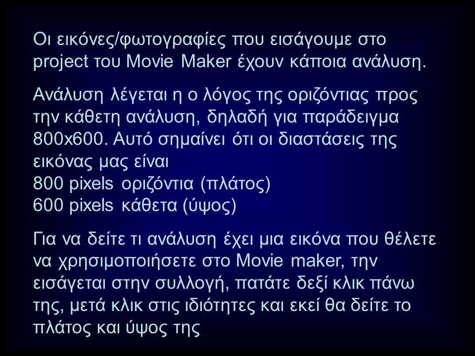 Οι εικόνες/φωτογραφίες που εισάγουμε στο project του Μovie Maker έχουν κάποια ανάλυση.