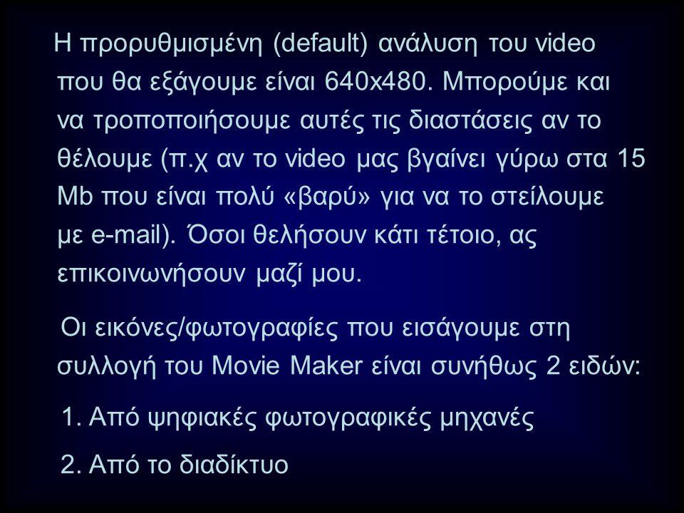 Η προρυθμισμένη (default) ανάλυση του video που θα εξάγουμε είναι 640x480.