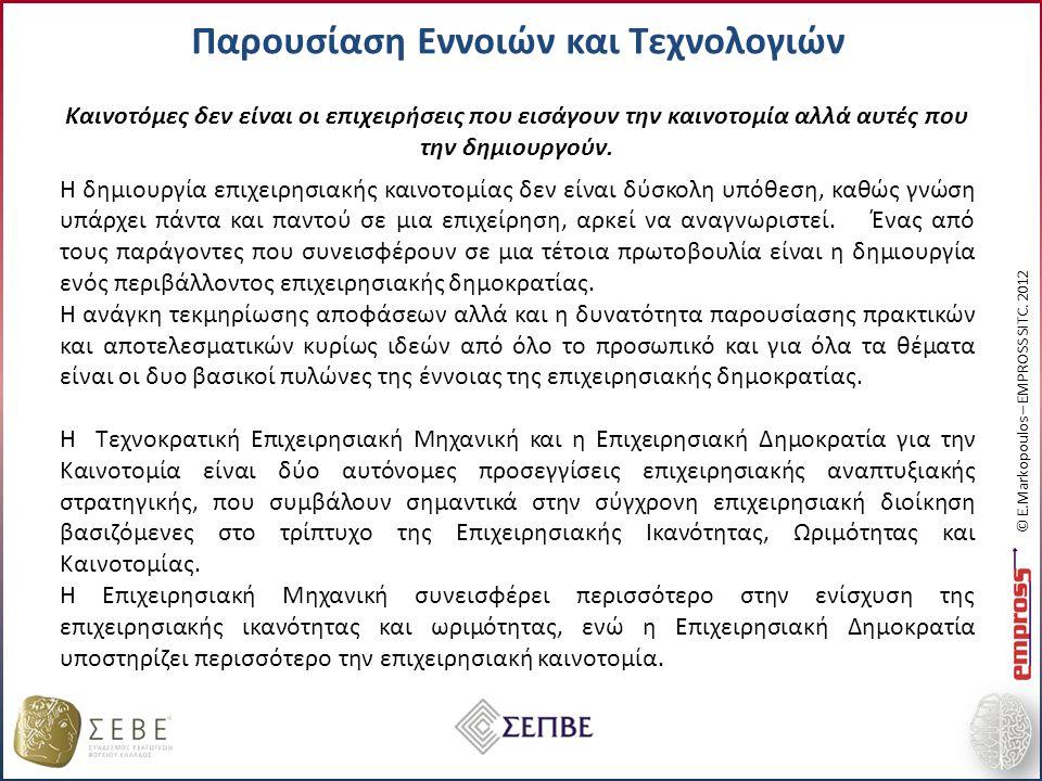 Παρουσίαση Εννοιών και Τεχνολογιών © E.Markopoulos – EMPROSS SITC.
