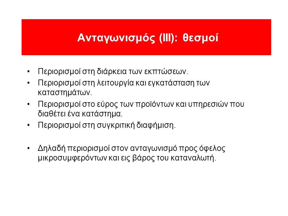 Ανταγωνισμός (ΙΙΙ): θεσμοί •Περιορισμοί στη διάρκεια των εκπτώσεων.