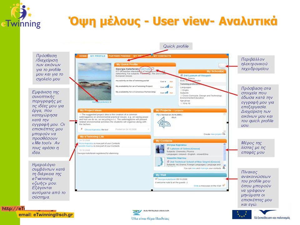 Όψη μέλους - User view- Αναλυτικά