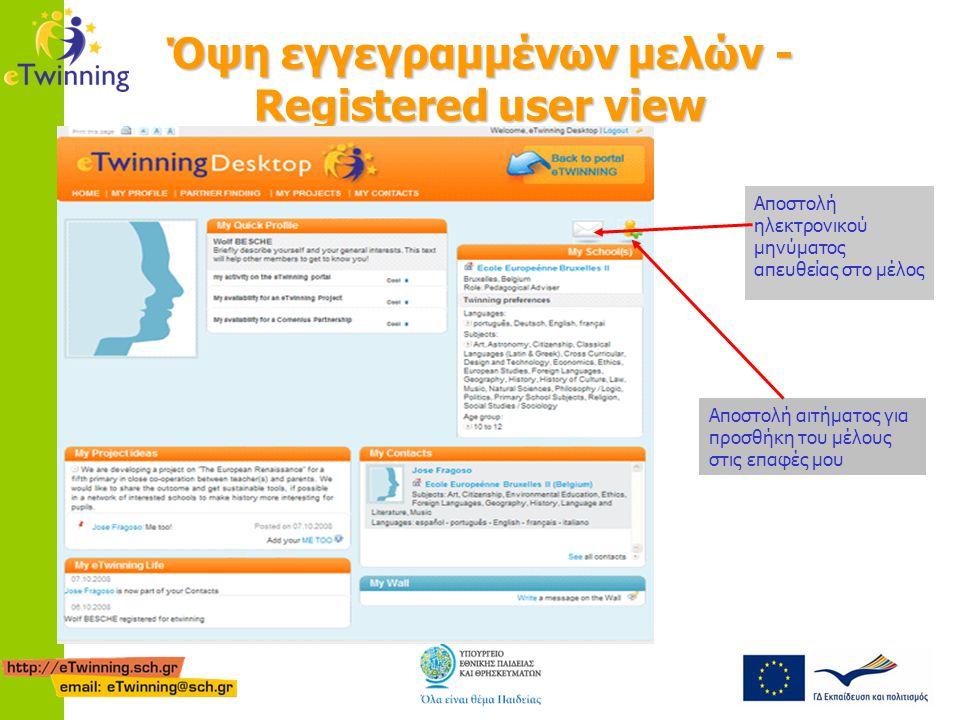 Όψη εγγεγραμμένων μελών - Registered user view Αποστολή ηλεκτρονικού μηνύματος απευθείας στο μέλος Αποστολή αιτήματος για προσθήκη του μέλους στις επαφές μου