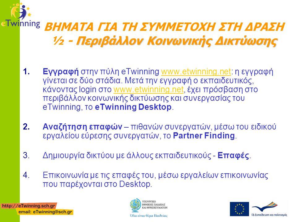 Περιβάλλον Κοινωνικής Δικτύωσης ΒΗΜΑΤΑ ΓΙΑ ΤΗ ΣΥΜΜΕΤΟΧΗ ΣΤΗ ΔΡΑΣΗ ½ - Περιβάλλον Κοινωνικής Δικτύωσης 1.Εγγραφή στην πύλη eTwinning www.etwinning.net: η εγγραφή γίνεται σε δύο στάδια.