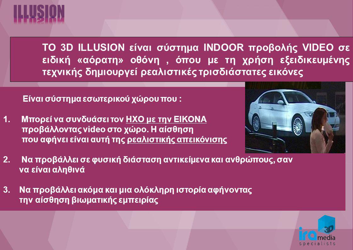 TO 3D ILLUSION είναι σύστημα INDOOR προβολής VIDEO σε ειδική «αόρατη» οθόνη, όπου με τη χρήση εξειδικευμένης τεχνικής δημιουργεί ρεαλιστικές τρισδιάστατες εικόνες Είναι σύστημα εσωτερικού χώρου που : 1.