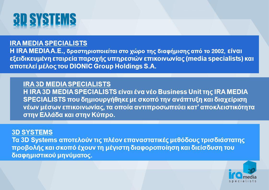IRA MEDIA SPECIALISTS Η IRA MEDIA Α.Ε., δραστηριοποιείται στο χώρο της διαφήμισης από το 2002, είναι εξειδικευμένη εταιρεία παροχής υπηρεσιών επικοινωνίας (media specialists) και αποτελεί μέλος του DIONIC Group Holdings S.A.