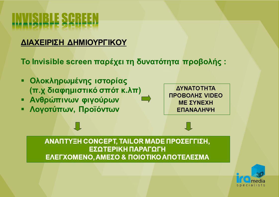 ΔΙΑΧΕΙΡΙΣΗ ΔΗΜΙΟΥΡΓΙΚΟΥ Το Invisible screen παρέχει τη δυνατότητα προβολής :  Ολοκληρωμένης ιστορίας (π.χ διαφημιστικό σπότ κ.λπ)  Aνθρώπινων φιγούρων  Λογοτύπων, Προϊόντων ΔΥΝΑΤΟΤΗΤΑ ΠΡΟΒΟΛΗΣ VIDEO ME ΣΥΝΕΧΗ ΕΠΑΝΑΛΗΨΗ ΑΝΑΠΤΥΞΗ CONCEPT, TAILOR MADE ΠΡΟΣΕΓΓΙΣΗ, ΕΣΩΤΕΡΙΚΗ ΠΑΡΑΓΩΓΗ ΕΛΕΓΧΟΜΕΝΟ, ΑΜΕΣΟ & ΠΟΙΟΤΙΚΟ ΑΠΟΤΕΛΕΣΜΑ