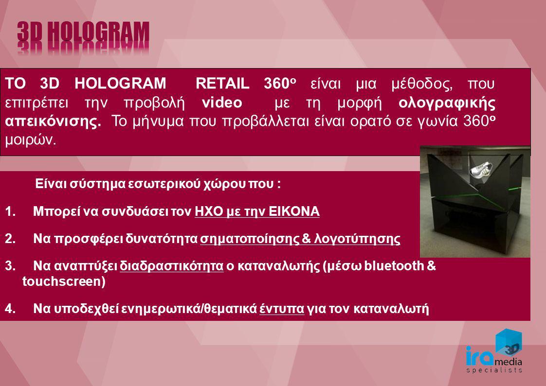 TO 3D HOLOGRAM RETAIL 360 o είναι μια μέθοδος, που επιτρέπει την προβολή video με τη μορφή ολογραφικής απεικόνισης. Το μήνυμα που προβάλλεται είναι ορ