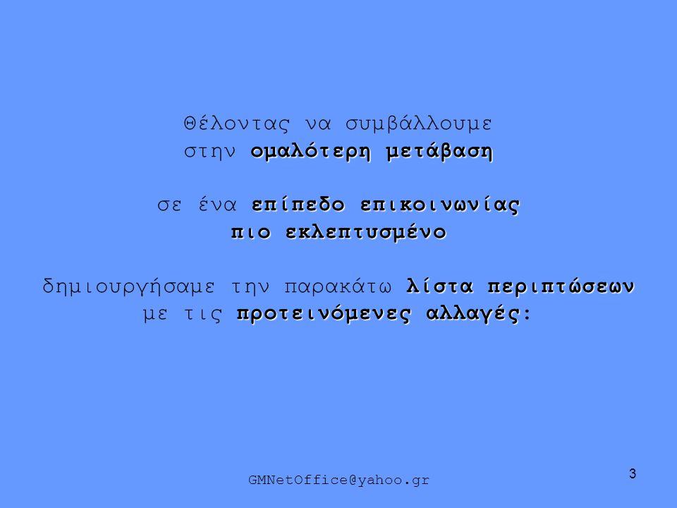 34 ΑΝΤΙ ΤΟΥ: ΑΣ ΕΠΙΛΕΓΟΥΜΕ ΤΟ : GMNetOffice@yahoo.gr Καλώς τα αρχίδια μας τα δυό !