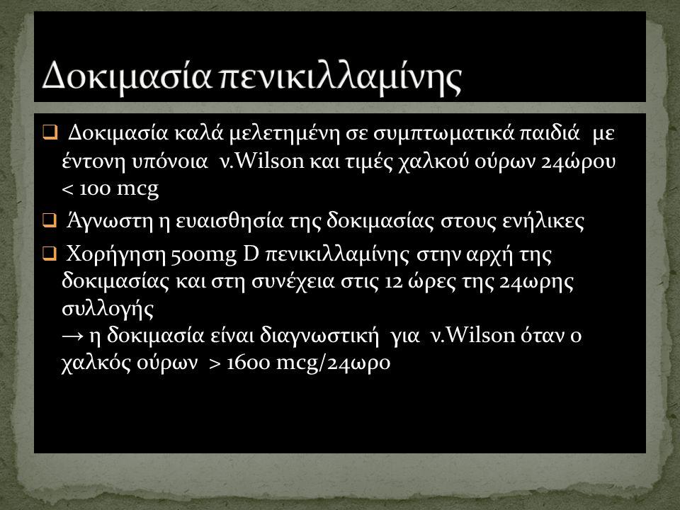  Δοκιμασία καλά μελετημένη σε συμπτωματικά παιδιά με έντονη υπόνοια ν.Wilson και τιμές χαλκού ούρων 24ώρου < 100 mcg  Άγνωστη η ευαισθησία της δοκιμ