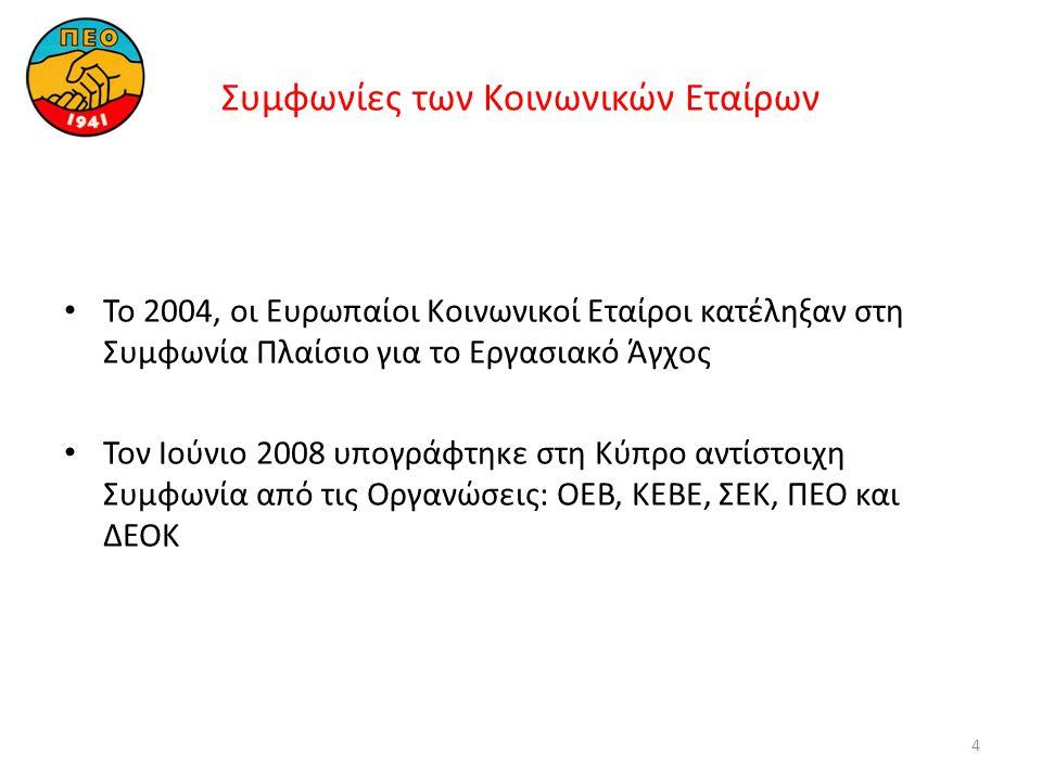 4 Συμφωνίες των Kοινωνικών Eταίρων • Το 2004, οι Ευρωπαίοι Kοινωνικοί Εταίροι κατέληξαν στη Συμφωνία Πλαίσιο για το Εργασιακό Άγχος • Τον Ιούνιο 2008 υπογράφτηκε στη Κύπρο αντίστοιχη Συμφωνία από τις Οργανώσεις: ΟΕΒ, ΚΕΒΕ, ΣΕΚ, ΠΕΟ και ΔΕΟΚ