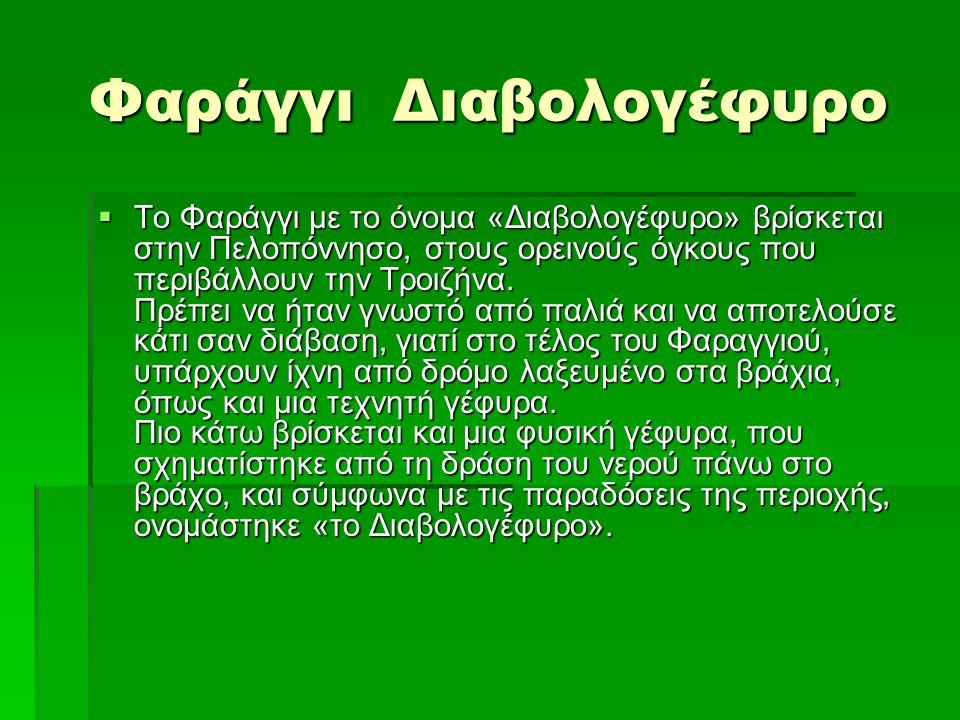 Φαράγγι Διαβολογέφυρο  Το Φαράγγι με το όνομα «Διαβολογέφυρο» βρίσκεται στην Πελοπόννησο, στους ορεινούς όγκους που περιβάλλουν την Τροιζήνα. Πρέπει
