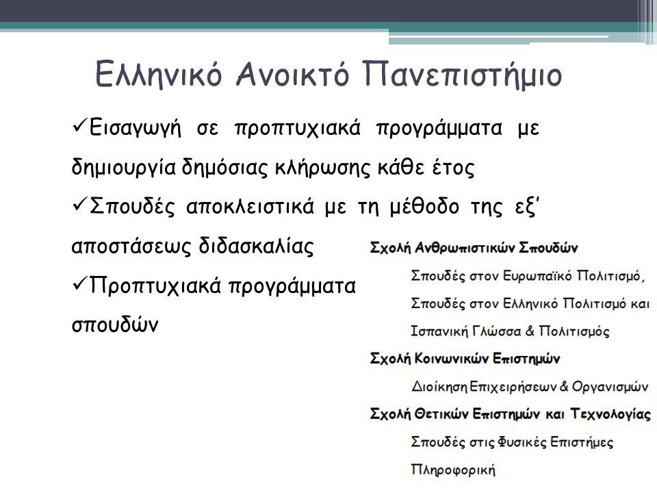 Ελληνικό Ανοικτό Πανεπιστήμιο  Εισαγωγή σε προπτυχιακά προγράμματα με δημιουργία δημόσιας κλήρωσης κάθε έτος  Σπουδές αποκλειστικά με τη μέθοδο της
