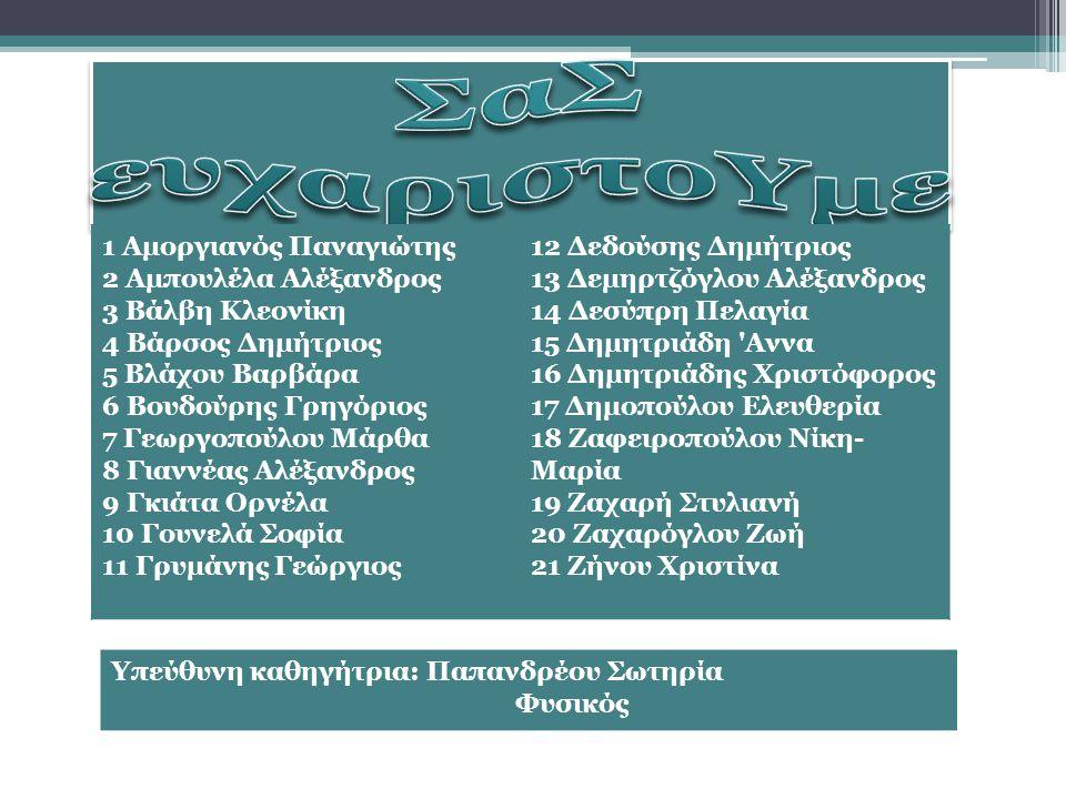 1 Αμοργιανός Παναγιώτης 2 Αμπουλέλα Αλέξανδρος 3 Βάλβη Κλεονίκη 4 Βάρσος Δημήτριος 5 Βλάχου Βαρβάρα 6 Βουδούρης Γρηγόριος 7 Γεωργοπούλου Μάρθα 8 Γιανν
