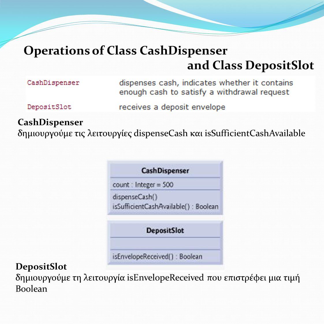 Operations of Class CashDispenser and Class DepositSlot CashDispenser δημιουργούμε τις λειτουργίες dispenseCash και isSufficientCashAvailable DepositSlot δημιουργούμε τη λειτουργία isEnvelopeReceived που επιστρέφει μια τιμή Boοlean