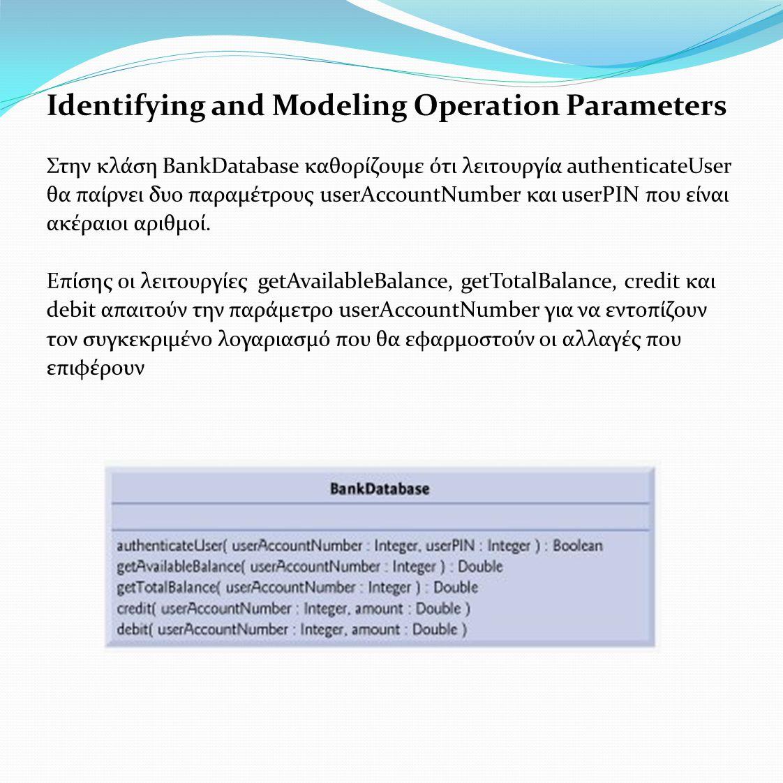 Identifying and Modeling Operation Parameters Στην κλάση BankDatabase καθορίζουμε ότι λειτουργία authenticateUser θα παίρνει δυο παραμέτρους userAccountNumber και userPΙΝ που είναι ακέραιοι αριθμοί.