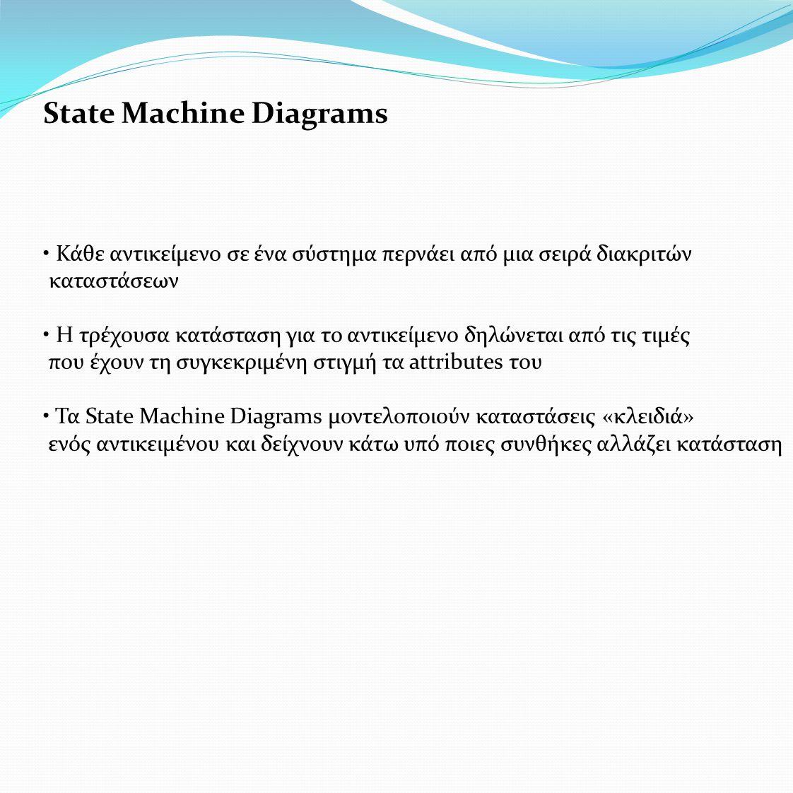 State Machine Diagrams • Κάθε αντικείμενο σε ένα σύστημα περνάει από μια σειρά διακριτών καταστάσεων • Η τρέχουσα κατάσταση για το αντικείμενο δηλώνεται από τις τιμές που έχουν τη συγκεκριμένη στιγμή τα attributes του • Τα State Machine Diagrams μοντελοποιούν καταστάσεις «κλειδιά» ενός αντικειμένου και δείχνουν κάτω υπό ποιες συνθήκες αλλάζει κατάσταση