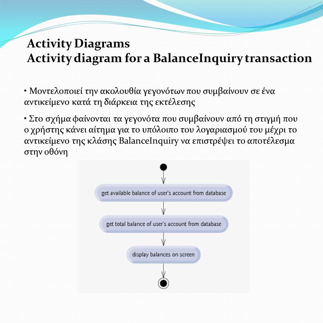 Activity Diagrams Activity diagram for a BalanceInquiry transaction • Μοντελοποιεί την ακολουθία γεγονότων που συμβαίνουν σε ένα αντικείμενο κατά τη διάρκεια της εκτέλεσης • Στο σχήμα φαίνονται τα γεγονότα που συμβαίνουν από τη στιγμή που ο χρήστης κάνει αίτημα για το υπόλοιπο του λογαριασμού του μέχρι το αντικείμενο της κλάσης BalanceInquiry να επιστρέψει το αποτέλεσμα στην οθόνη