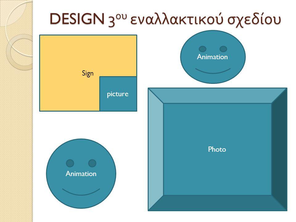 DESIGN 3 ου εναλλακτικού σχεδίου Sign picture Animation Photo Animation