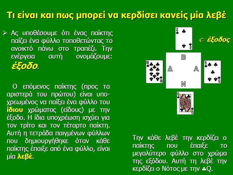 Τι είναι και πως μπορεί να κερδίσει κανείς μία λεβέ  Ας υποθέσουμε ότι ένας παίκτης παίζει ένα φύλλο τοποθετώντας το ανοικτό πάνω στο τραπέζι. Την εν