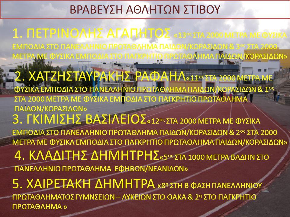 ΒΡΑΒΕΥΣΗ ΑΘΛΗΤΩΝ ΣΤΙΒΟΥ 1. ΠΕΤΡΙΝΟΛΗΣ ΑΓΑΠΗΤΟΣ «13 ος ΣΤΑ 2000 ΜΕΤΡΑ ΜΕ ΦΥΣΙΚΑ ΕΜΠΟΔΙΑ ΣΤΟ ΠΑΝΕΛΛΗΝΙΟ ΠΡΩΤΑΘΛΗΜΑ ΠΑΙΔΩΝ/ΚΟΡΑΣΙΔΩΝ & 3 ος ΣΤΑ 2000 ΜΕΤΡ