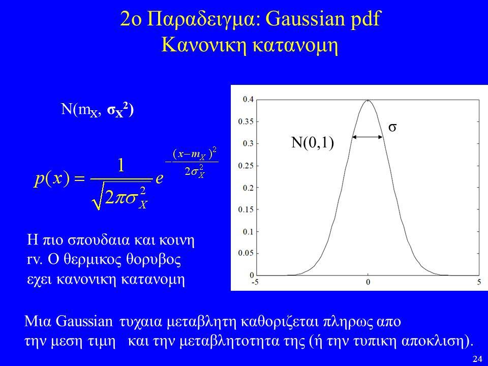24 2ο Παραδειγμα: Gaussian pdf Κανονικη κατανομη Μια Gaussian τυχαια μεταβλητη καθοριζεται πληρως απο την μεση τιμη και την μεταβλητοτητα της (ή την τ