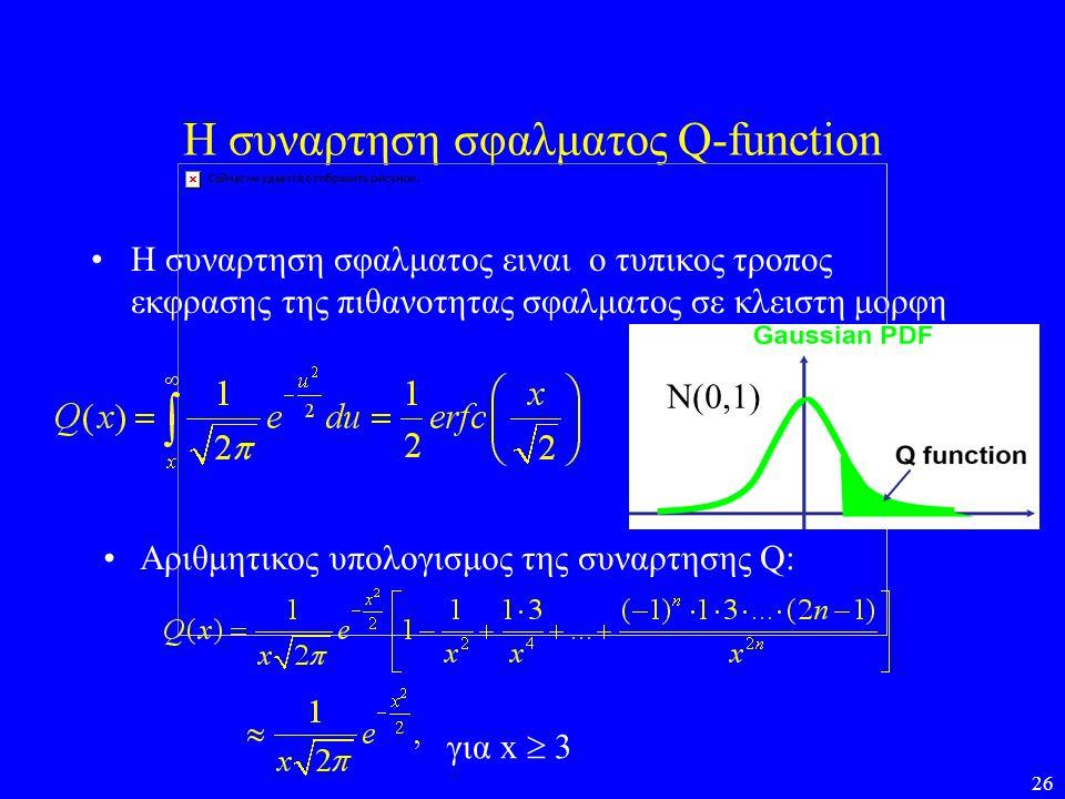 26 Η συναρτηση σφαλματος Q-function •Η συναρτηση σφαλματος ειναι ο τυπικος τροπος εκφρασης της πιθανοτητας σφαλματος σε κλειστη μορφη • Aριθμητικος υπ