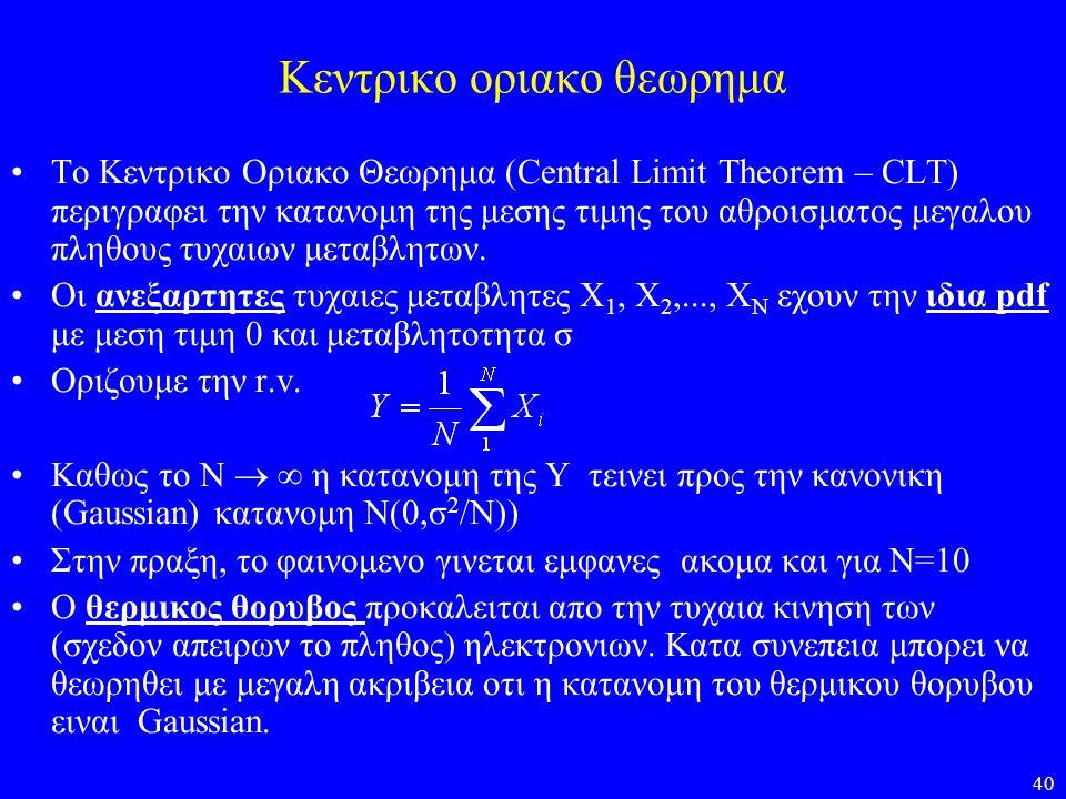 40 Κεντρικο οριακο θεωρημα •Το Κεντρικο Οριακο Θεωρημα (Central Limit Theorem – CLT) περιγραφει την κατανομη της μεσης τιμης του αθροισματος μεγαλου π