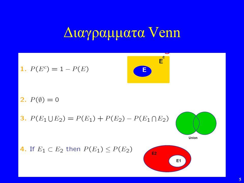 6 Σχεσεις μεταξυ τυχαιων γεγονοτων •Η απο κοινου πιθανοτητα των Α και Β ειναι η πιθανοτητα να συμβουν και τα δυο γεγονοτα: P(A,B) = P(A  B) •Υπο συνθηκη πιθανοτητα P(A B) = P(A,B) / P(B) Είναι η πιθανοτητα οτι θα συμβει το Α δεδομενου οτι συνέβη το Β •Ετσι P(A,B) = P(A )P(B) = P(Β Α)P(Α) •Στατιστικη ανεξαρτησια: –Τα γεγονοτα Α και Β ειναι στατιστικα ανεξαρτητα αν: P(A,B) = P(A) P(B) –Αν τα Α και Β ειναι ανεξαρτητα τοτε: P(A B) = P(A) και P(B A) = P(B) Παραδειγμα: Τα αποτελεσματα της ριψης δυο ζαριων ή τα αποτελεσματα της ριψης του ιδιου ζαριου δυο φορες (εκτος αν είναι πειραγμενο…)