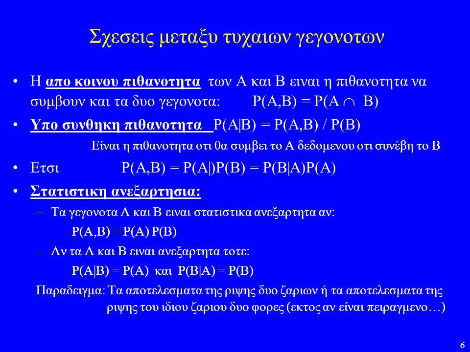 6 Σχεσεις μεταξυ τυχαιων γεγονοτων •Η απο κοινου πιθανοτητα των Α και Β ειναι η πιθανοτητα να συμβουν και τα δυο γεγονοτα: P(A,B) = P(A  B) •Υπο συνθ