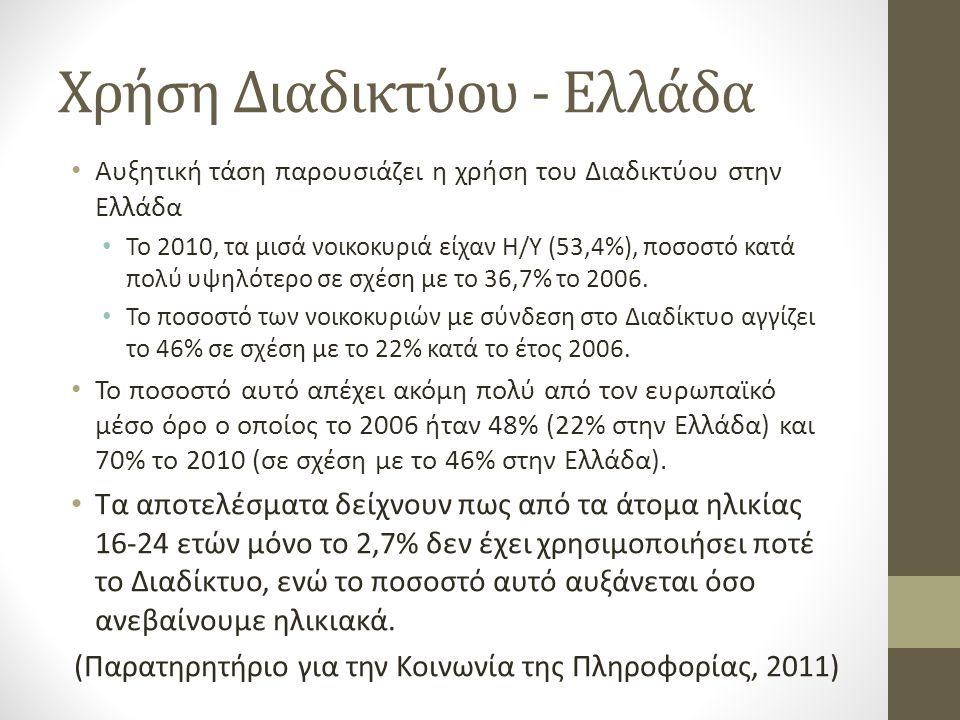 Χρήση Διαδικτύου - Ελλάδα • Αυξητική τάση παρουσιάζει η χρήση του Διαδικτύου στην Ελλάδα • Το 2010, τα μισά νοικοκυριά είχαν Η/Υ (53,4%), ποσοστό κατά