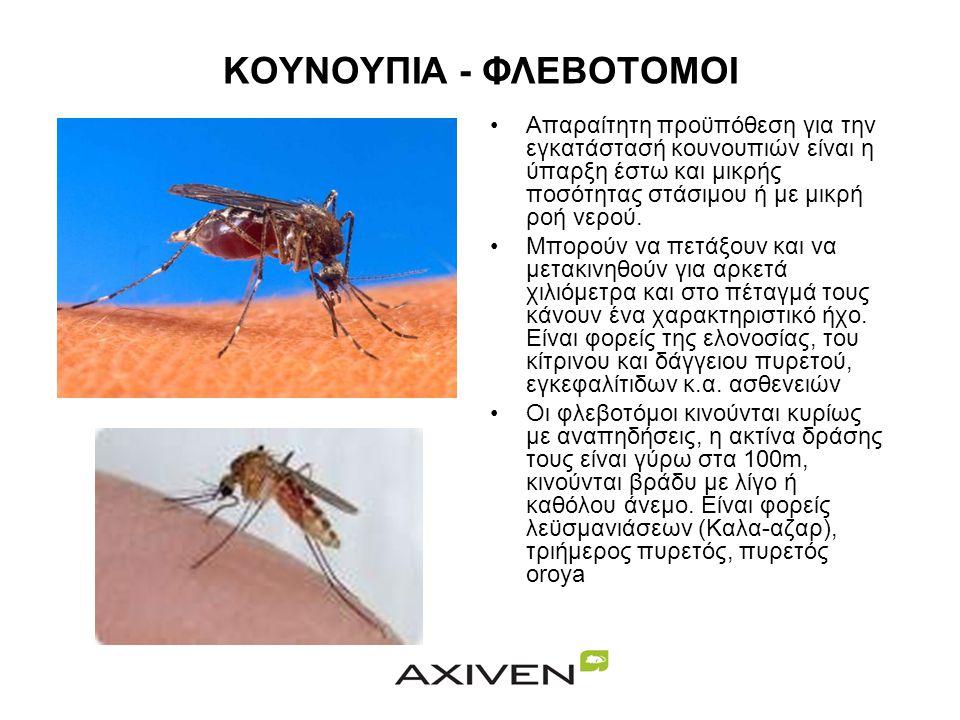ΚΟΥΝΟΥΠΙΑ - ΦΛΕΒΟΤΟΜΟΙ •Απαραίτητη προϋπόθεση για την εγκατάστασή κουνουπιών είναι η ύπαρξη έστω και μικρής ποσότητας στάσιμου ή με μικρή ροή νερού.