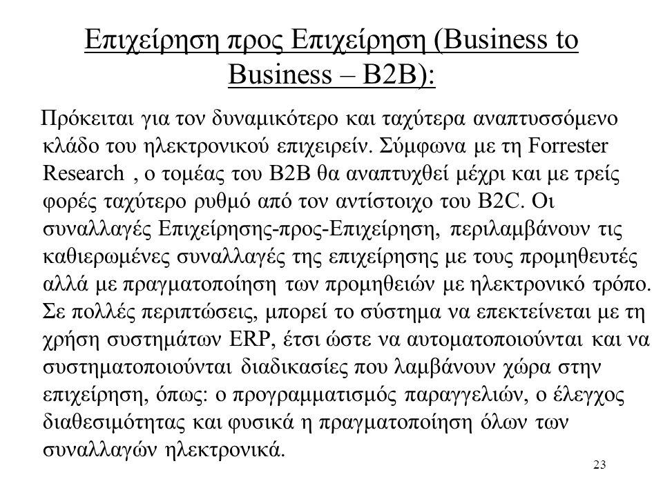 23 Επιχείρηση προς Επιχείρηση (Business to Business – B2B): Πρόκειται για τον δυναμικότερο και ταχύτερα αναπτυσσόμενο κλάδο του ηλεκτρονικού επιχειρείν.