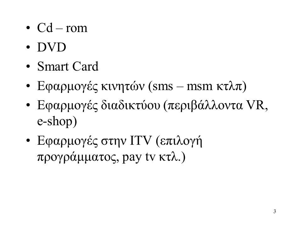 3 •Cd – rom •DVD •Smart Card •Εφαρμογές κινητών (sms – msm κτλπ) •Εφαρμογές διαδικτύου (περιβάλλοντα VR, e-shop) •Εφαρμογές στην ITV (επιλογή προγράμματος, pay tv κτλ.)