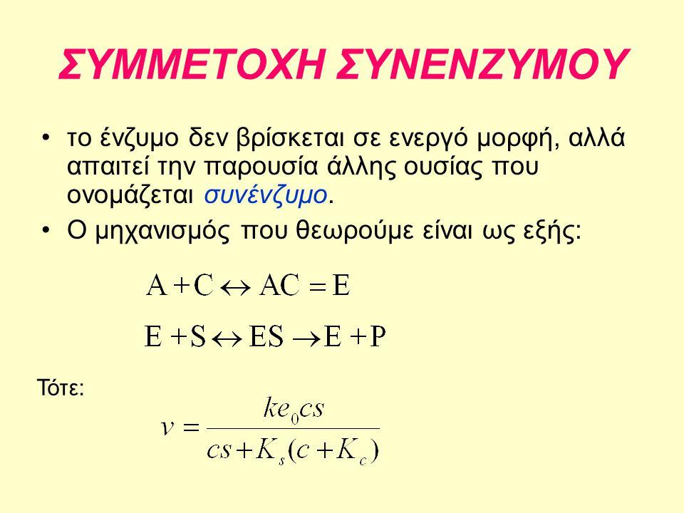 ΣΥΜΜΕΤΟΧΗ ΣΥΝΕΝΖΥΜΟΥ •το ένζυμο δεν βρίσκεται σε ενεργό μορφή, αλλά απαιτεί την παρουσία άλλης ουσίας που ονομάζεται συνένζυμο. •Ο μηχανισμός που θεωρ