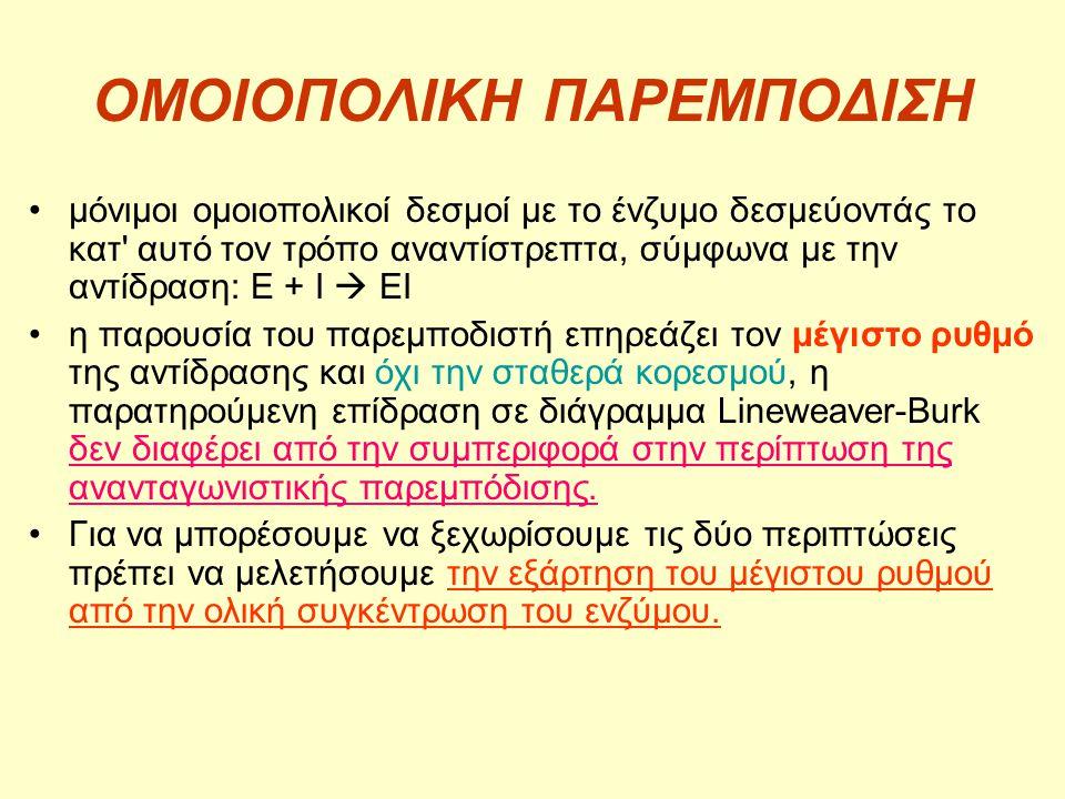 ΟΜΟΙΟΠΟΛΙΚΗ ΠΑΡΕΜΠΟΔΙΣΗ •μόνιμοι ομοιοπολικοί δεσμοί με το ένζυμο δεσμεύοντάς το κατ' αυτό τον τρόπο αναντίστρεπτα, σύμφωνα με την αντίδραση: E + I 