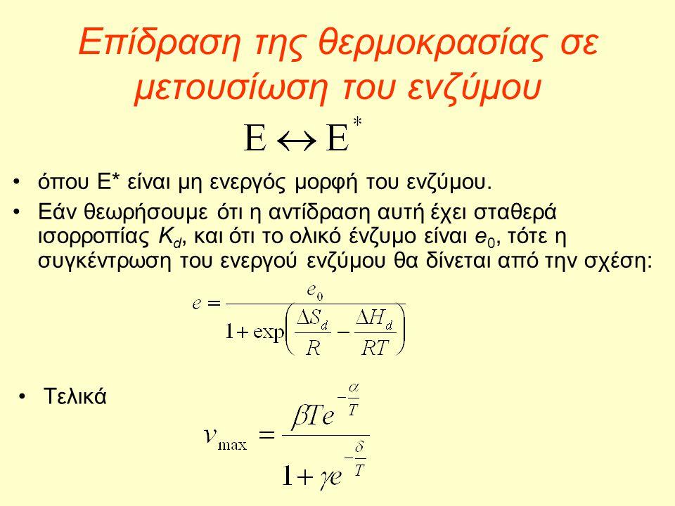 Επίδραση της θερμοκρασίας σε μετουσίωση του ενζύμου •όπου Ε* είναι μη ενεργός μορφή του ενζύμου. •Εάν θεωρήσουμε ότι η αντίδραση αυτή έχει σταθερά ισο