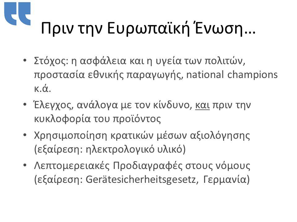 Πριν την Ευρωπαϊκή Ένωση… • Στόχος: η ασφάλεια και η υγεία των πολιτών, προστασία εθνικής παραγωγής, national champions κ.ά.