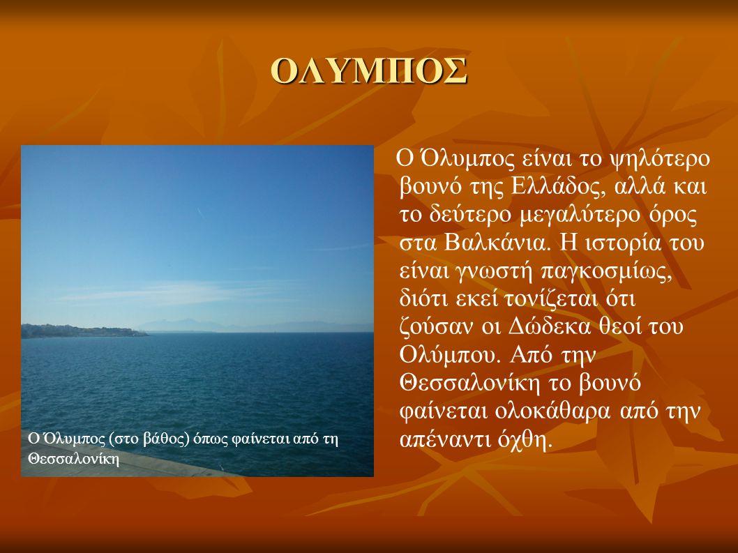 ΟΛΥΜΠΟΣ Ο Όλυμπος είναι το ψηλότερο βουνό της Ελλάδος, αλλά και το δεύτερο μεγαλύτερο όρος στα Βαλκάνια. Η ιστορία του είναι γνωστή παγκοσμίως, διότι
