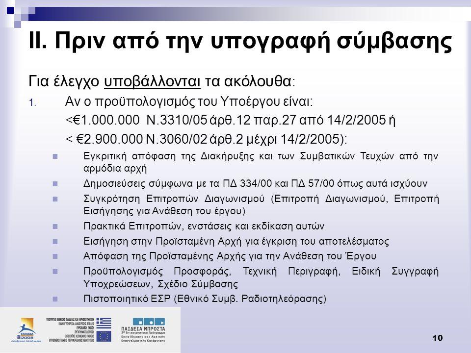 10 ΙΙ. Πριν από την υπογραφή σύμβασης Για έλεγχο υποβάλλονται τα ακόλουθα : 1. Αν ο προϋπολογισμός του Υποέργου είναι: <€1.000.000 Ν.3310/05 άρθ.12 πα
