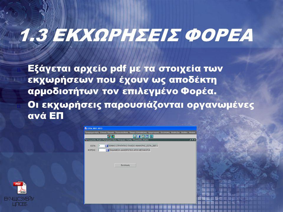 1.3 ΕΚΧΩΡΗΣΕΙΣ ΦΟΡΕΑ n Εξάγεται αρχείο pdf με τα στοιχεία των εκχωρήσεων που έχουν ως αποδέκτη αρμοδιοτήτων τον επιλεγμένο Φορέα. n Οι εκχωρήσεις παρο