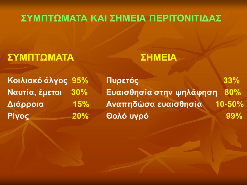 ΣΥΜΠΤΩΜΑΤΑ ΚΑΙ ΣΗΜΕΙΑ ΠΕΡΙΤΟΝΙΤΙΔΑΣ ΣΥΜΠΤΩΜΑΤΑ ΣΗΜΕΙΑ Κοιλιακό άλγος 95% Πυρετός 33% Ναυτία, έμετοι 30% Ευαισθησία στην ψηλάφηση 80% Διάρροια 15% Αναπ