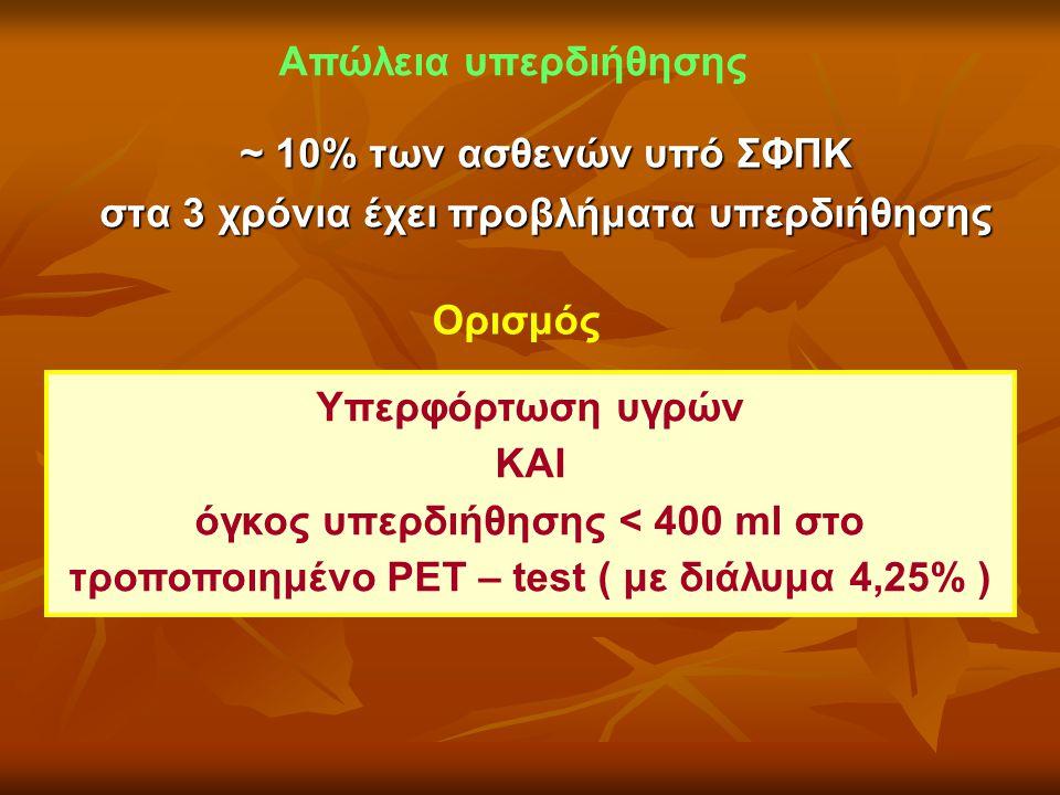 Απώλεια υπερδιήθησης Ορισμός Υπερφόρτωση υγρών ΚΑΙ όγκος υπερδιήθησης < 400 ml στο τροποποιημένο PET – test ( με διάλυμα 4,25% ) ~ 10% των ασθενών υπό