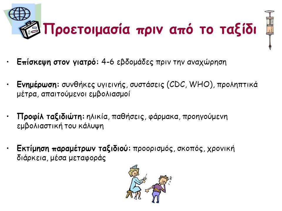 Προετοιμασία πριν από το ταξίδι •Επίσκεψη στον γιατρό: 4-6 εβδομάδες πριν την αναχώρηση •Ενημέρωση: συνθήκες υγιεινής, συστάσεις (CDC, WHO), προληπτικά μέτρα, απαιτούμενοι εμβολιασμοί •Προφίλ ταξιδιώτη: ηλικία, παθήσεις, φάρμακα, προηγούμενη εμβολιαστική του κάλυψη •Εκτίμηση παραμέτρων ταξιδιού: προορισμός, σκοπός, χρονική διάρκεια, μέσα μεταφοράς