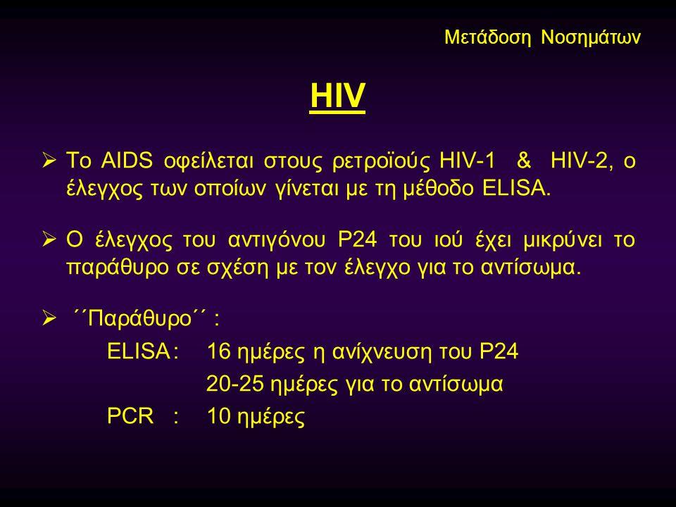 HIV  Το AIDS οφείλεται στους ρετροϊούς HIV-1 & HIV-2, ο έλεγχος των οποίων γίνεται με τη μέθοδο ELISA.  Ο έλεγχος του αντιγόνου Ρ24 του ιού έχει μικ