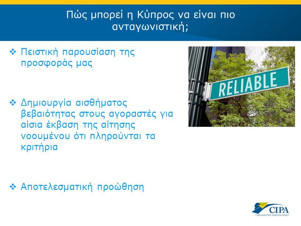 Πώς μπορεί η Κύπρος να είναι πιο ανταγωνιστική;  Πειστική παρουσίαση της προσφοράς μας  Δημιουργία αισθήματος βεβαιότητας στους αγοραστές για αίσια έκβαση της αίτησης νοουμένου ότι πληρούνται τα κριτήρια  Αποτελεσματική προώθηση
