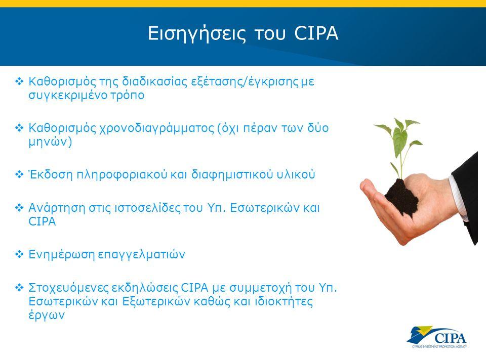 Εισηγήσεις του CIPA  Καθορισμός της διαδικασίας εξέτασης/έγκρισης με συγκεκριμένο τρόπο  Καθορισμός χρονοδιαγράμματος (όχι πέραν των δύο μηνών)  Έκδοση πληροφοριακού και διαφημιστικού υλικού  Ανάρτηση στις ιστοσελίδες του Υπ.