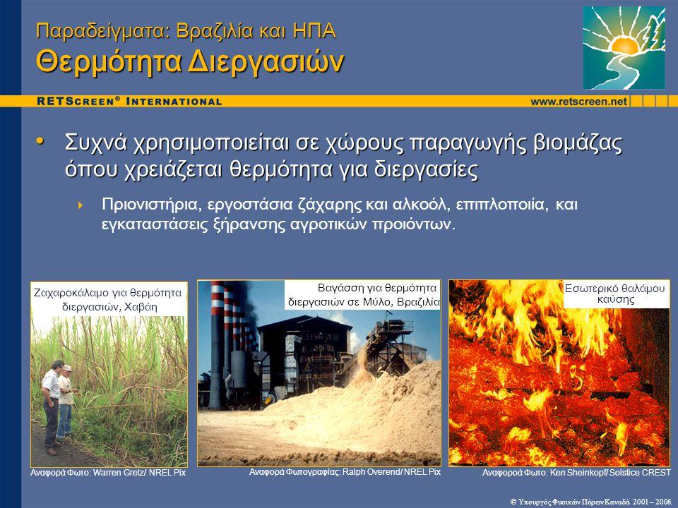 © Υπουργός Φυσικών Πόρων Καναδά 2001 – 2006. Παραδείγματα: Βραζιλία και ΗΠΑ Θερμότητα Διεργασιών • Συχνά χρησιμοποιείται σε χώρους παραγωγής βιομάζας