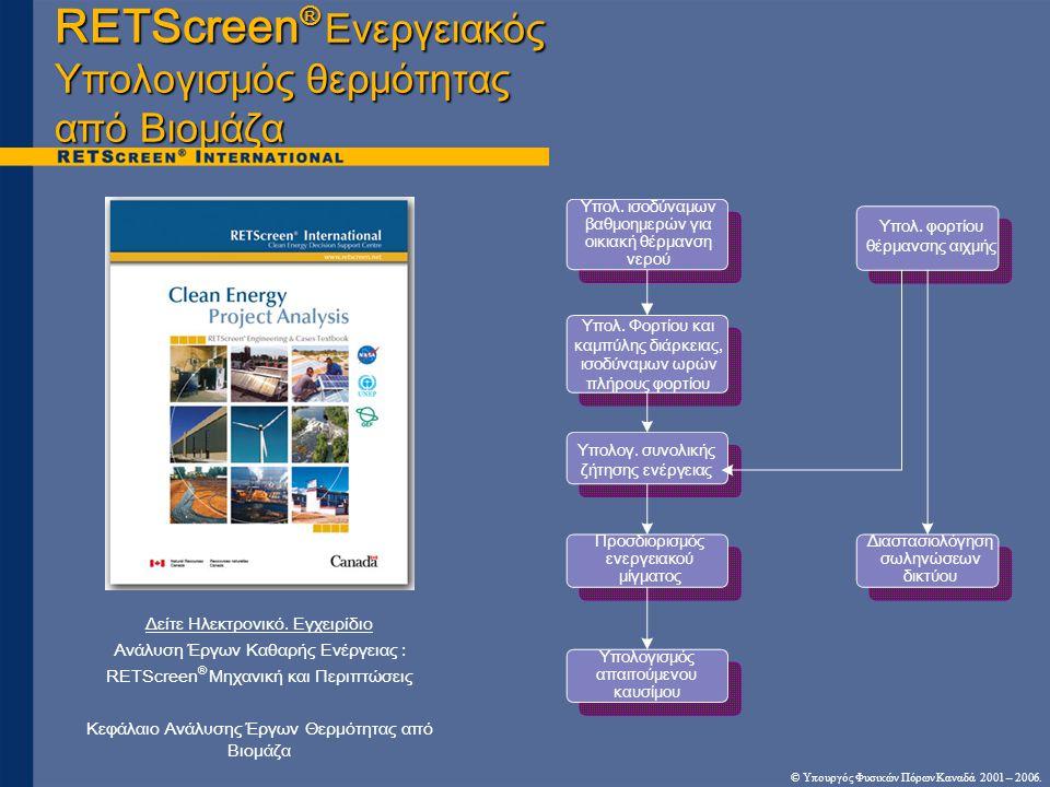 © Υπουργός Φυσικών Πόρων Καναδά 2001 – 2006. RETScreen ® Ενεργειακός Υπολογισμός θερμότητας από Βιομάζα Δείτε Ηλεκτρονικό. Εγχειρίδιο Ανάλυση Έργων Κα