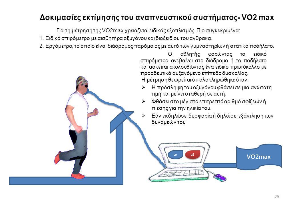 Δοκιμασίες εκτίμησης του αναπνευστικού συστήματος- VO2 max 25 Για τη μέτρηση της VO2max χρειάζεται ειδικός εξοπλισμός. Πιο συγκεκριμένα: 1. Ειδικό σπι