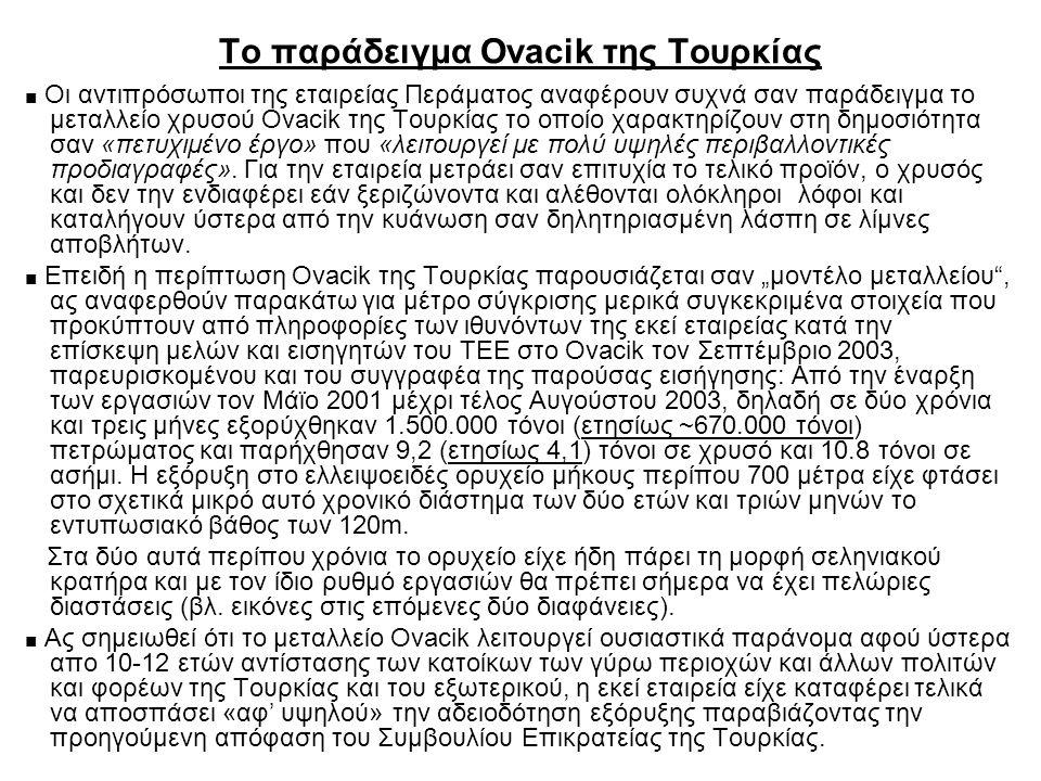 Το παράδειγμα Ovacik της Τουρκίας ■ Οι αντιπρόσωποι της εταιρείας Περάματος αναφέρουν συχνά σαν παράδειγμα το μεταλλείο χρυσού Ovacik της Τουρκίας το